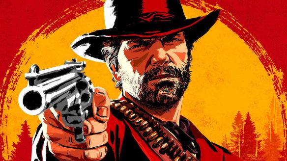 Take-Two Interactive - grafika promująca Red Dead Redemption 2 z twarzą głównego bohatera i pistoletem w jego ręce