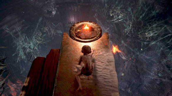 The Lord of The Rings Gollum - Gollum podchodzi do ognia nad przepaścią