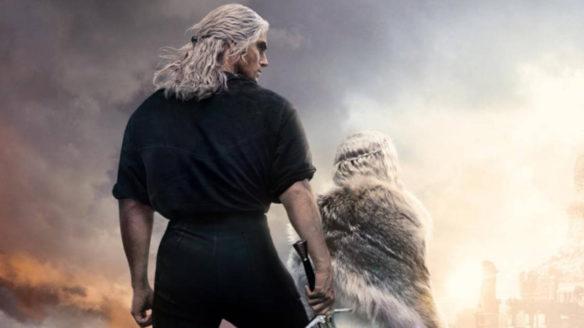 The Witcher 2 sezon - Wiedźmin z nueczen stoi na szczycie góry i inną postacią
