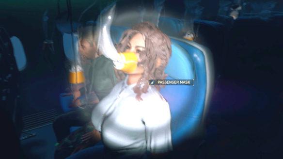 Turbulence - Airplane Suvival Simulator - pasażerka samolotu z założoną maską