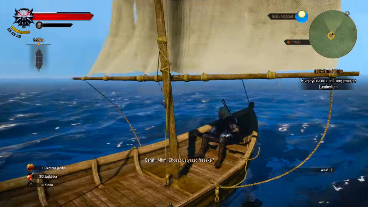 Wiedźmin 3 Dziki Gon - Geralt płynie z Lambertem łódką i pyta o opowiedzenie wulgarnej fraszki
