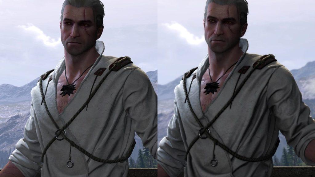 Wiedźmin 3 Dziki Gon - porównanie Geralta przed i po instalacji moda Cutscenes Graphics Enhanced