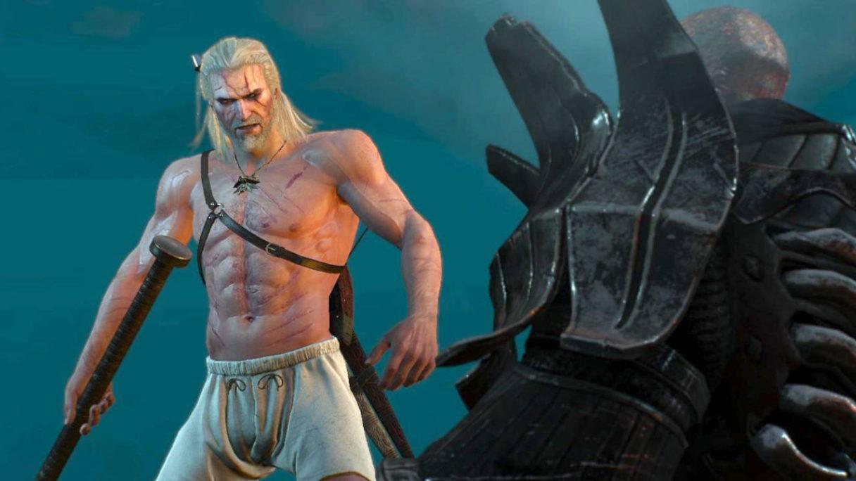 Wiedźmin 3 - Geralt po eliksirach bez koszulki z ogromną bronią bije się z żołnierzem Dzikiego Gonu