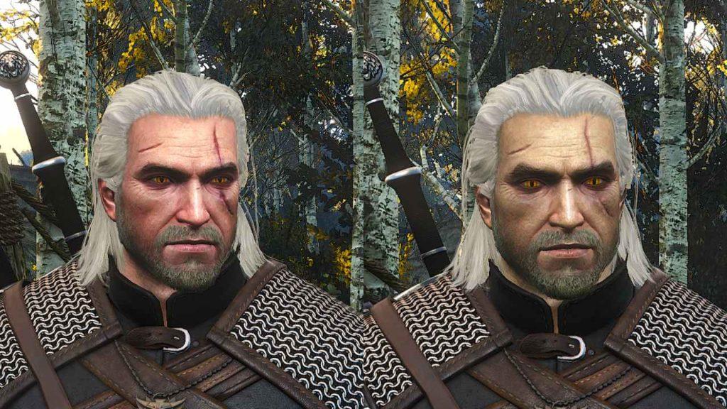 Wiedźmin 3 - Geralt porównanie twarzy przed i po instalacji moda Geralt Remastered