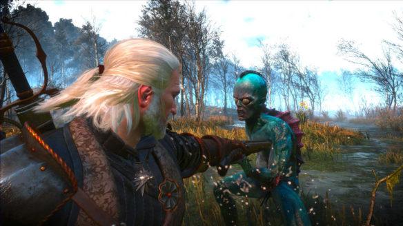 Wiedźmin 3 - Geralt przystawia broń palną do piersi Utopca