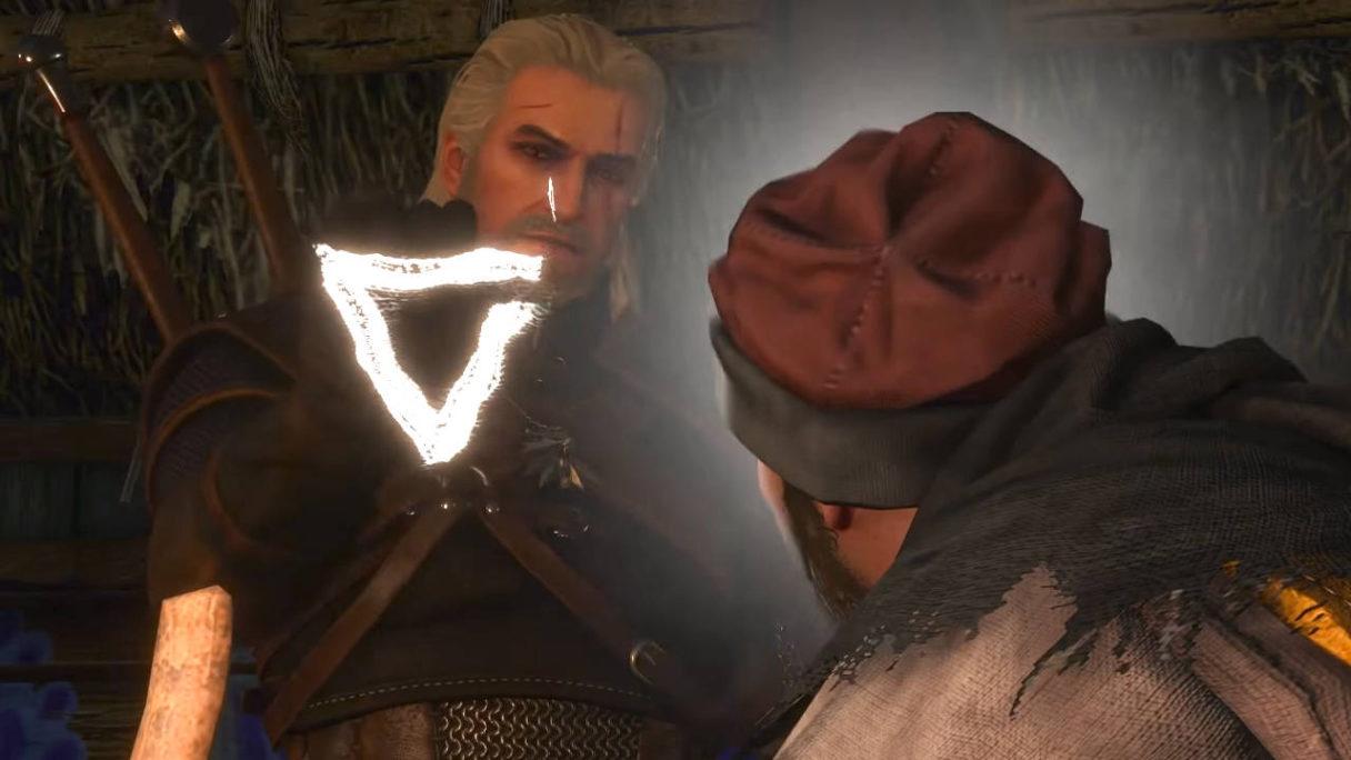 Wiedźmin 3 - Geralt rzuca znak aksji na wieśniaka