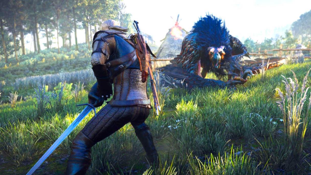 Wiedźmin 3 - Geralt walczy z gryfem na polanie