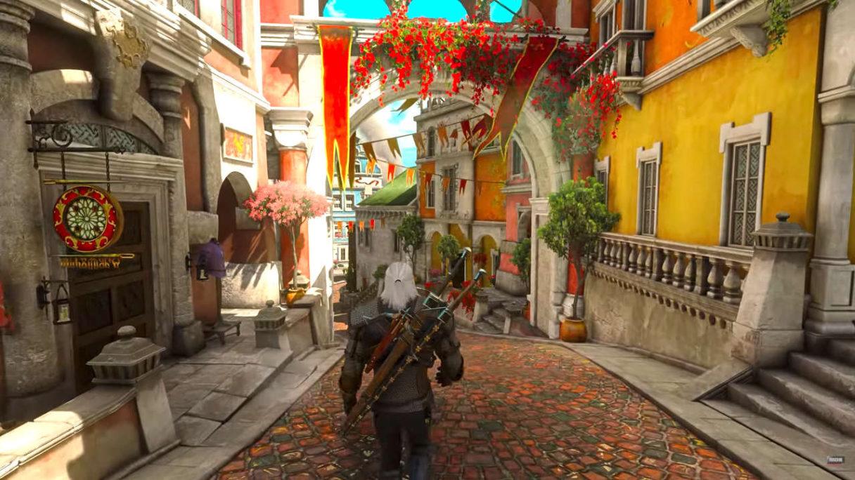 Wiedźmin 3 - kadr z Toussaint, gdy Geralt przemierza ulice miasta z modami na RT i 8K