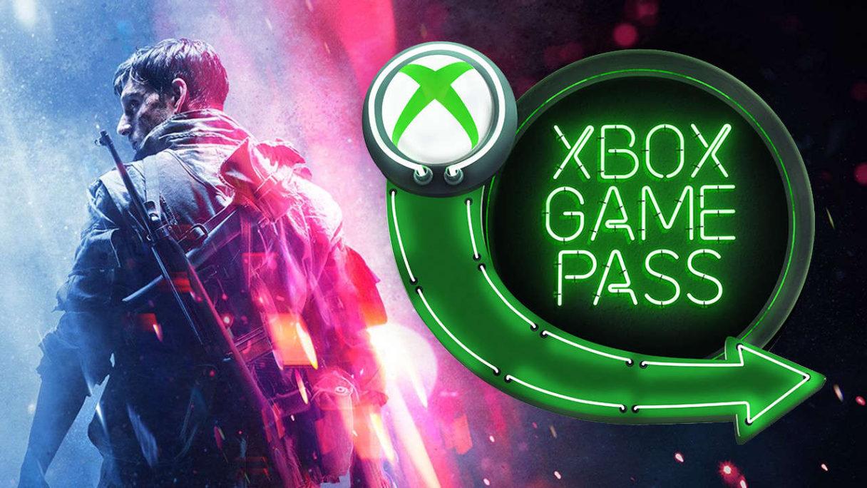 Xbox Game Pass logo na tle grafiki Battlefield V - żołnierz odwrócony plecami