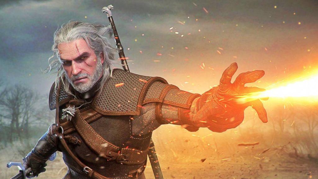 Geralt korzysta ze znaku Igni w grze Wiedźmin 3