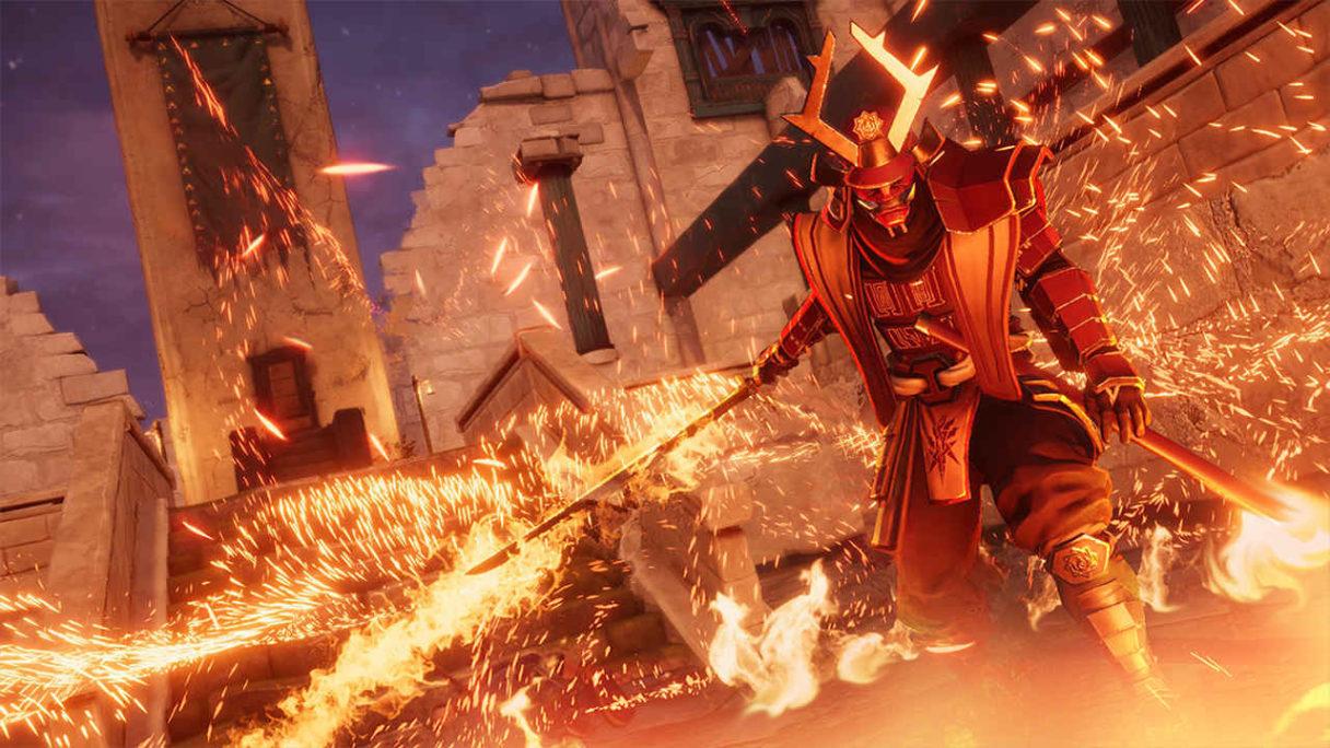 Samuraj z mieczem stoi w palącym się domu