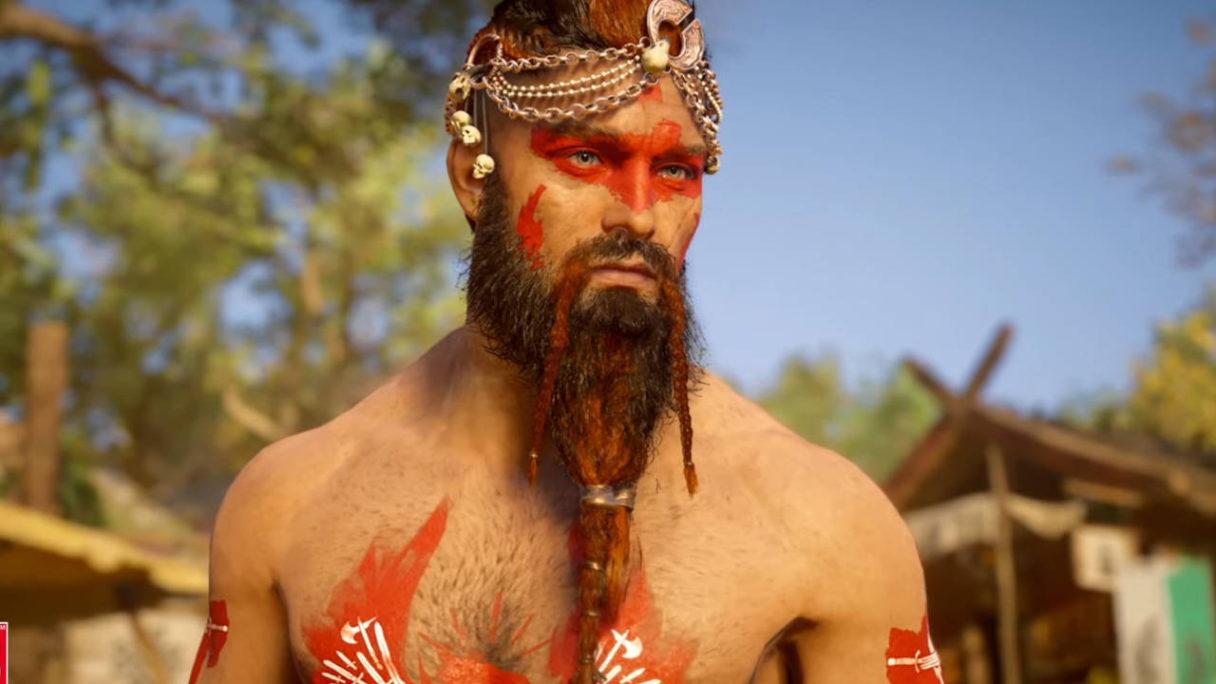 Assassin's Creed Valhalla - wiking topless z malunkami na twarzy