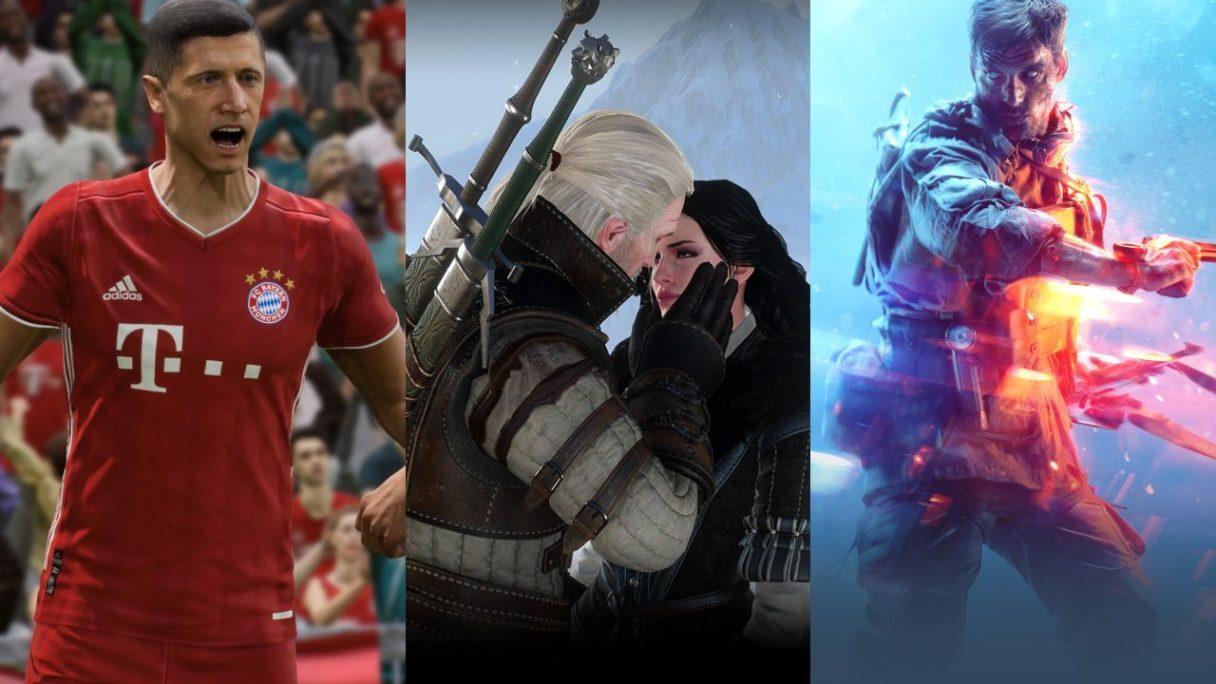 eFootball - piłkarz cieszy się na boisku, Geralt i Yennefer przytulają się namiętnie, żołnierz z Battlefield V w nietypowym świetle