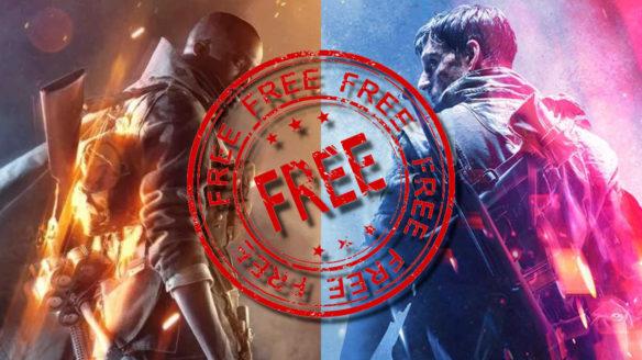 """Bohaterowie z Battlefield 1 i V patrzą na siebie, ogromny stamp """"Free"""" na środku"""