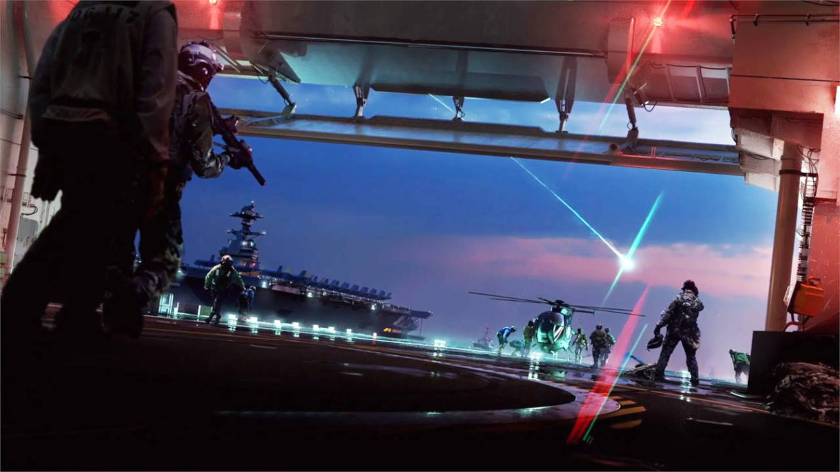 Battlefield 2042 - żołnierze w hangarze szykują do lotu helikopter