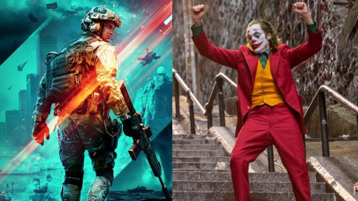 Żołnierz z okładki Battlefield 2042 i tańczący na schodach Joker
