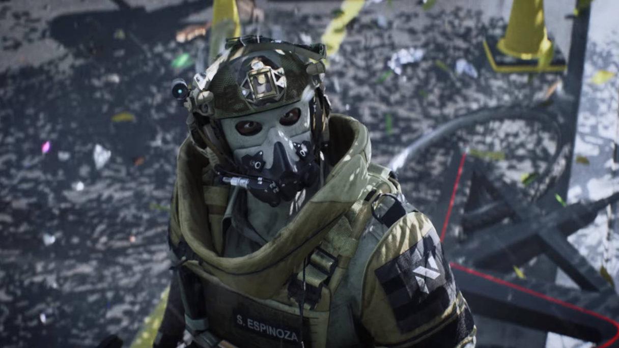 Battlefield 2042 - żołnierz z maską na twarzy patrzy w niebo