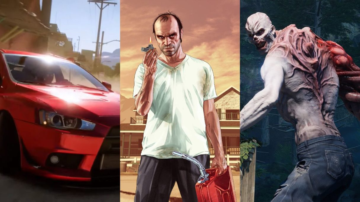 Czerwony, sportowy samochód z Forza Horizon 5, Franklin z GTA V z kanistrem paliwa, zombie z Back 4 Blood z ogromną łapą