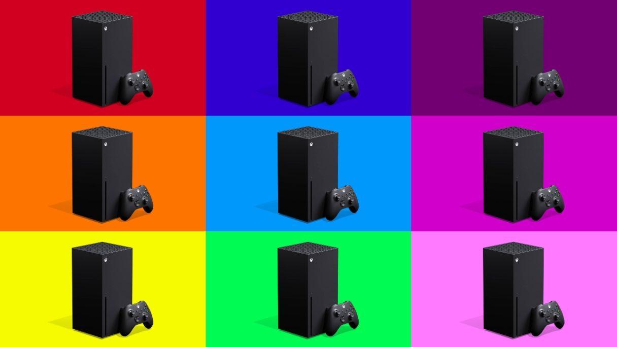 Xbox Series X - 9 konsol na różnych kolorach tła