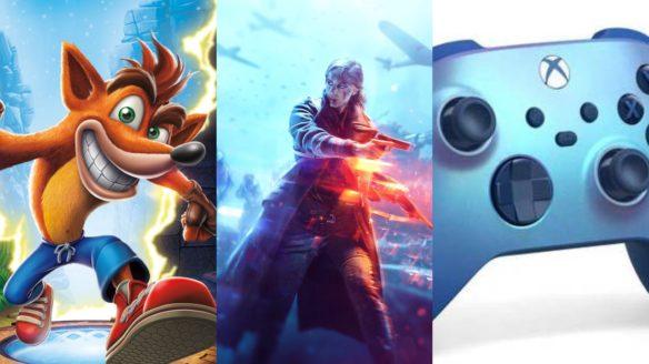 Jamrajm pasiasty biegnie obok kobiety z bronią, a obok nich kontroler do Xbox Series X