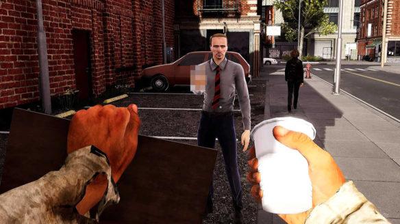Bum Simulator - gracz próbuje wyżebrać pieniądze i przechodzień pokazuje mu środkowy palec