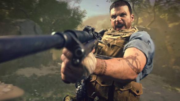 Call of Duty Vanguard - żołnierz strzela strzela i wrzeszczy