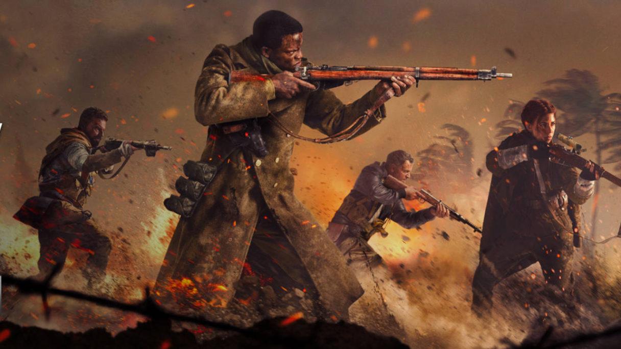 Call of Duty Vanguard - żołnierze strzelają na froncie w kłębach dymu i w ogniu