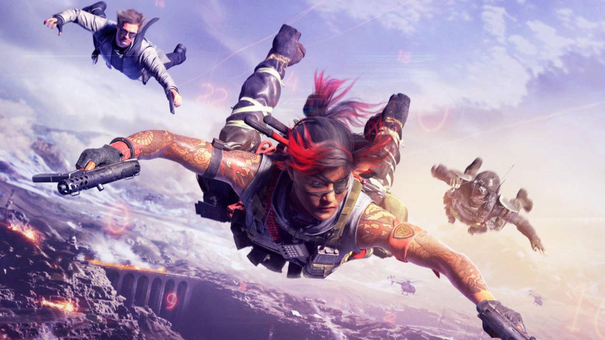 Call of Duty Warzone - trójka graczy spada po skoku z helikoptera