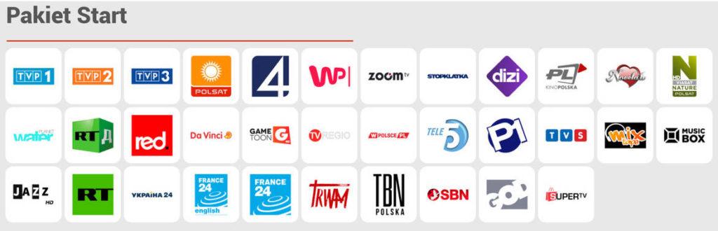 CDA TV - pakiet Start - lista kanałów telewizyjnych