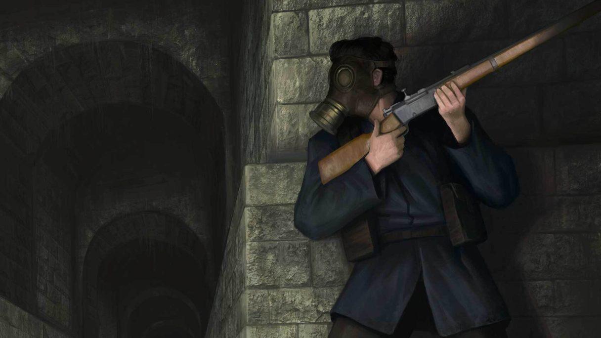 Mężczyzna z bronią w ręku opiera się o mur