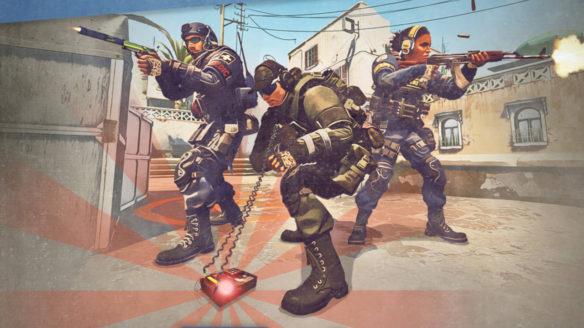 CS GO - antyterroryści rozbrajają bombę - dwójka kolegów ochrania kolegę po środku obrazka