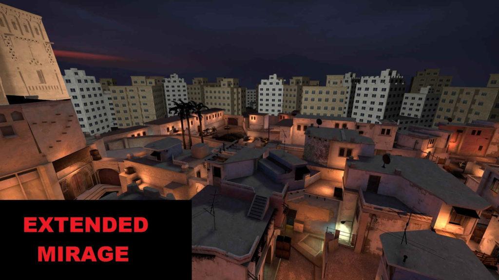 CS GO Mirage Story Mode - widok z lotu ptaka na budynki