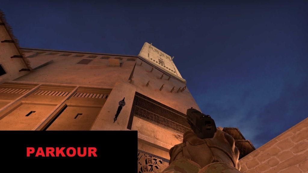 CS GO Mirage Story Mode - parkur na ścianie budynku