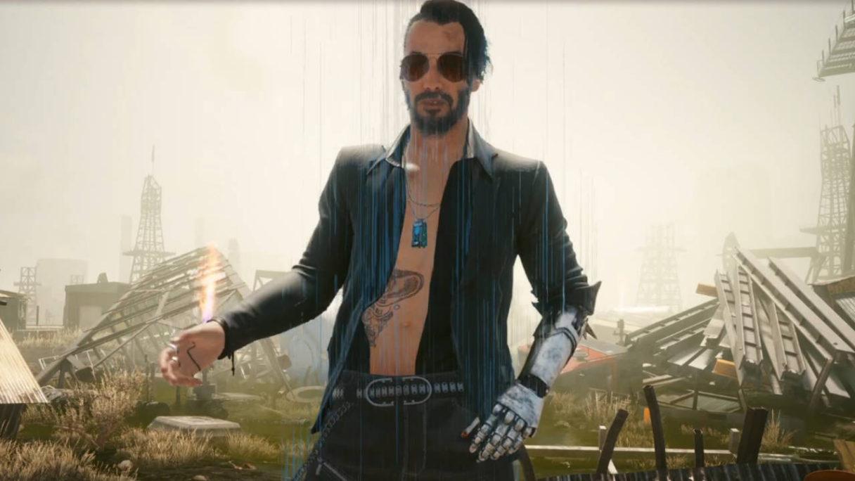 Cyberpunk 2077 - patch 1.3. - Johnny Silverhand z nagim torsem gestykuluje