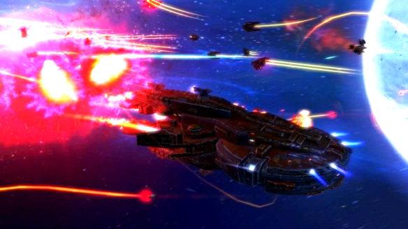 Darmowe gry Epic Games Store - rebel galaxy - statek kosmiczny walczy z innymi w kosmosie, w tle wybuch