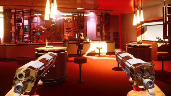 Deathloop - gracz podchodzi ukradkiem zza plecy przeciwników w barze. Mierzy do nich z dwóch pistoletów