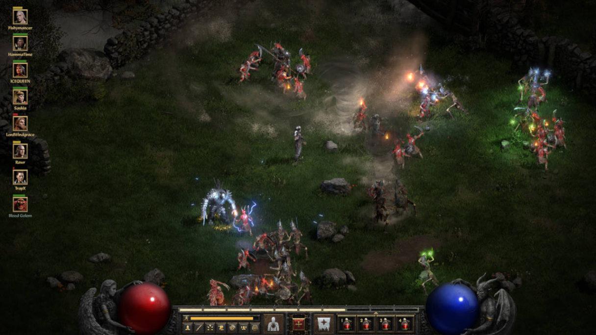 Diablo 2 Resurrected - kadr z gry, gdy bohater walczy z przeciwnikami