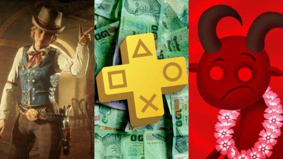 DoGrywka - cowgirl z Red Dead Online, logo PS Plus na tle banknotów, diabeł z Hell Architect w hawajskim wianku na szyi