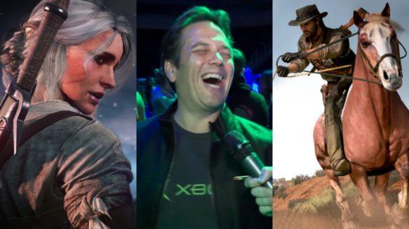 Ciri z Wiedźmin 3: Dziki Gon, Phil Spencer śmieje się do mikrofonu, kowboj na koniu ciągnie mężczyznę na sznurze - możliwy Red Dead Redemption Remake