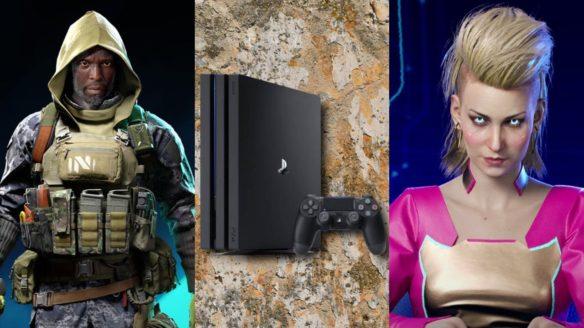 DoGRYwka - czarnoskóry żołnierz w kapturze z Battlefield 2042, PS4 Pro z kontrolerem na tle brudnej powierzchni i prezenterka z Cyberpunk 2077