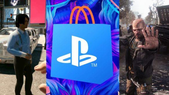 DoGRYwka - rozmazany model z Cyberpunk 2077, logo PS Store, mężczyzna z Dying Light 2 zatrzymuje gracza ręką i ma niemiłą minę