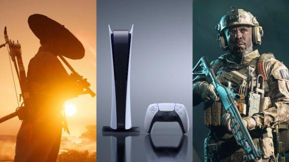 DoGRYwka - samuraj z Ghost of Tsushima Director's Cut gra na flecie, konsola PS5 z kontrolerem, żołnierz z Battlefield 2042