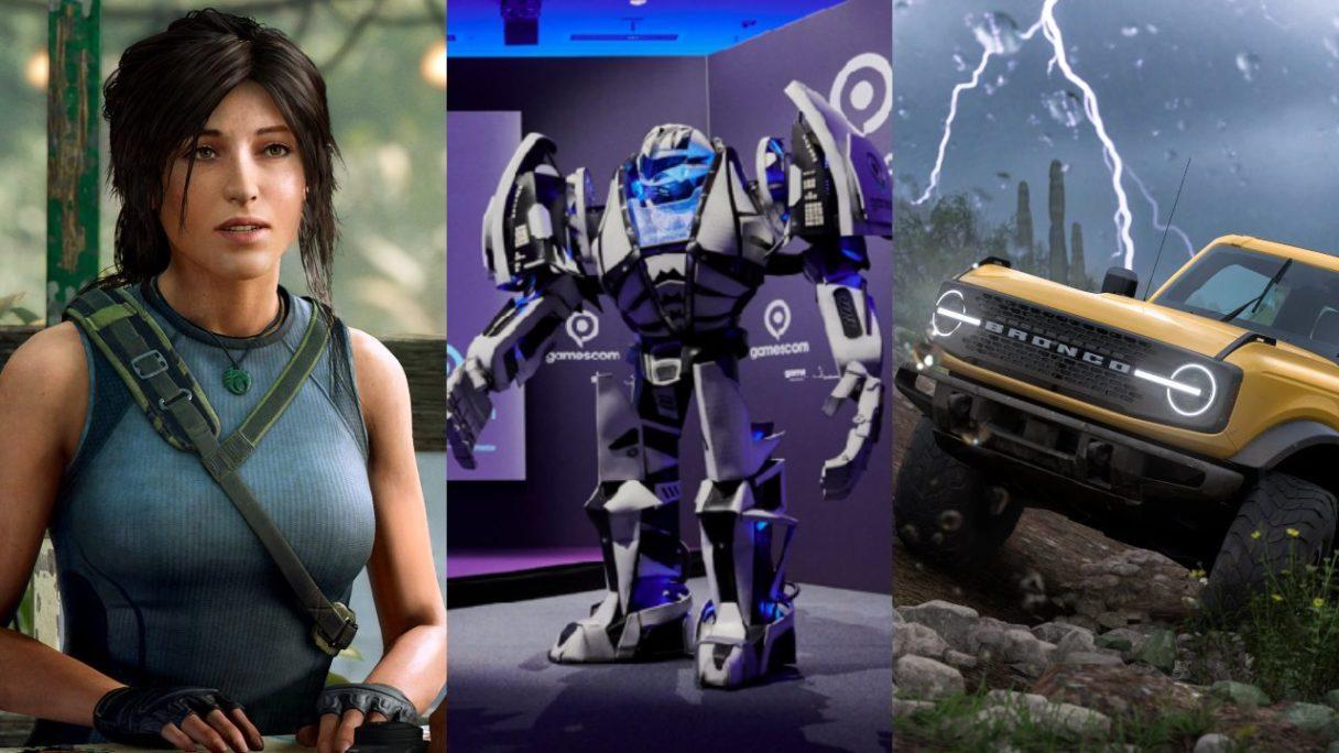 DoGRYwka - Lara Croft ze zdziwioną miną, robot będący maskotką eventu Gamescom 2021, samochód terenowy jedzie przez pustynię podczas burzy w Forza Horizon 5