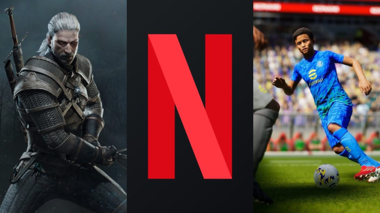 DoGRYwka - Geralt z gry Wiedźmin 3: Dziki Gon, logo Netflix, piłkarz na murawie z eFootball