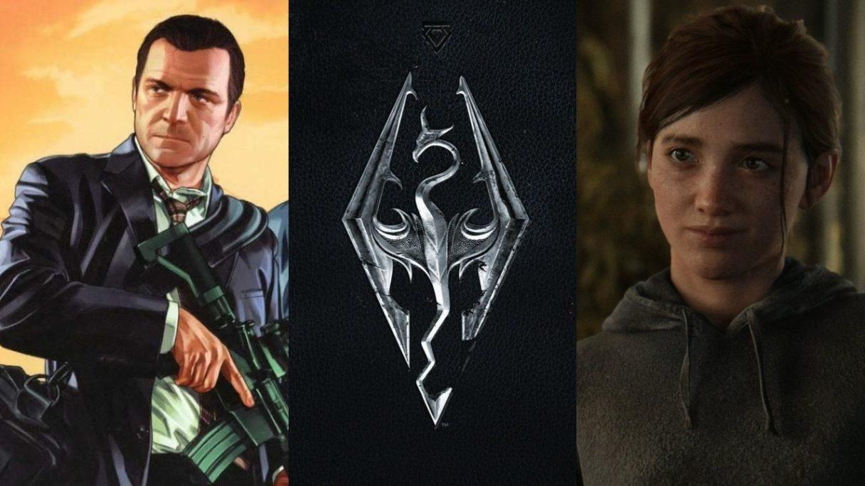 GTA VI - Michalel z GTA V z karabinem, logo TES V: Skyrim (smok) i Ellie z The Last of Us Part II