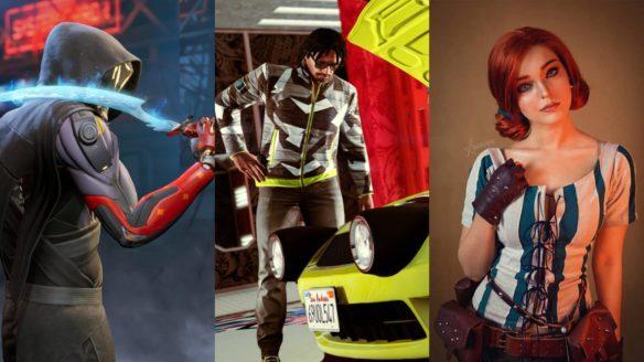 """Bohater Ghostrunner opiera lodowy miecz na barku, mężczyzna w GTA Online zagląda pod maskę samochodu i cosplayerka Kamila """"Andrasta"""" w roli Triss"""