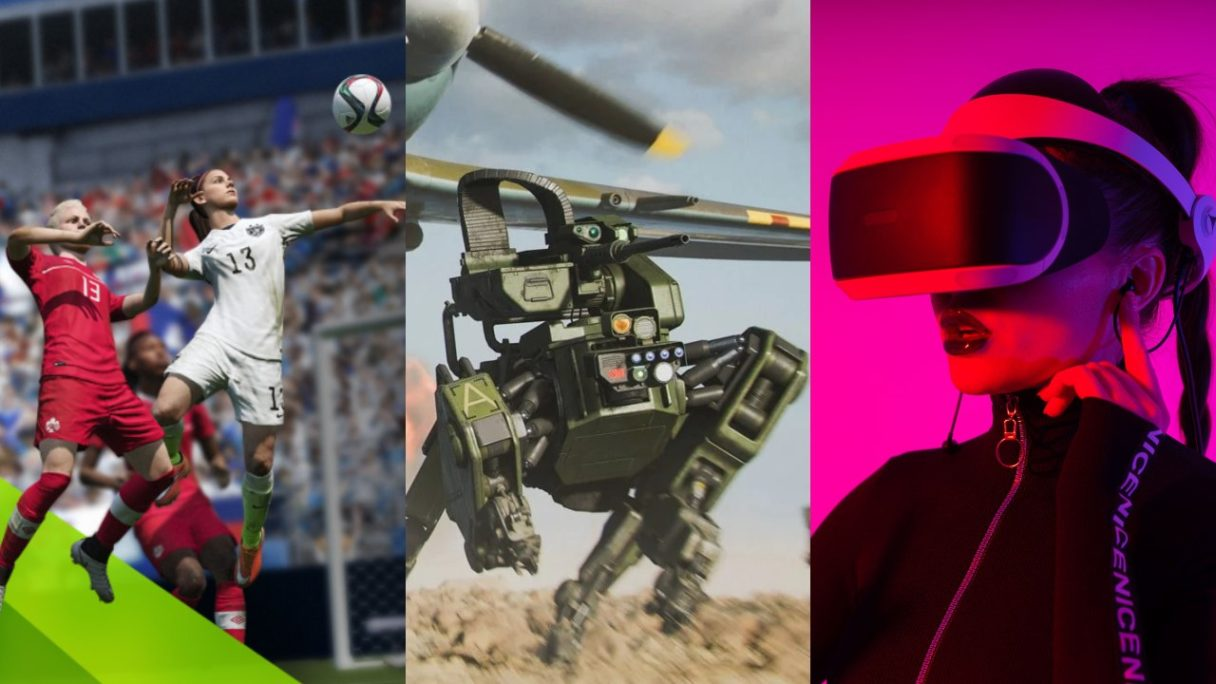 """Piłkarki z FIFA walczą o piłkę, robot """"Szarik"""" biegnie przed siebie na polu bitwy (Battlefield 2042) i kobieta ma ubrane PS VR na głowie w różowym świetle"""