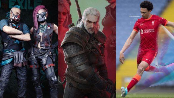 Bohaterowie z Cyberpunk 2077 stoją obok siebie, Geralt z Wiedźmin 3 z mieczem w ręku, piłkarz z FIFA 22 kopie piłkę