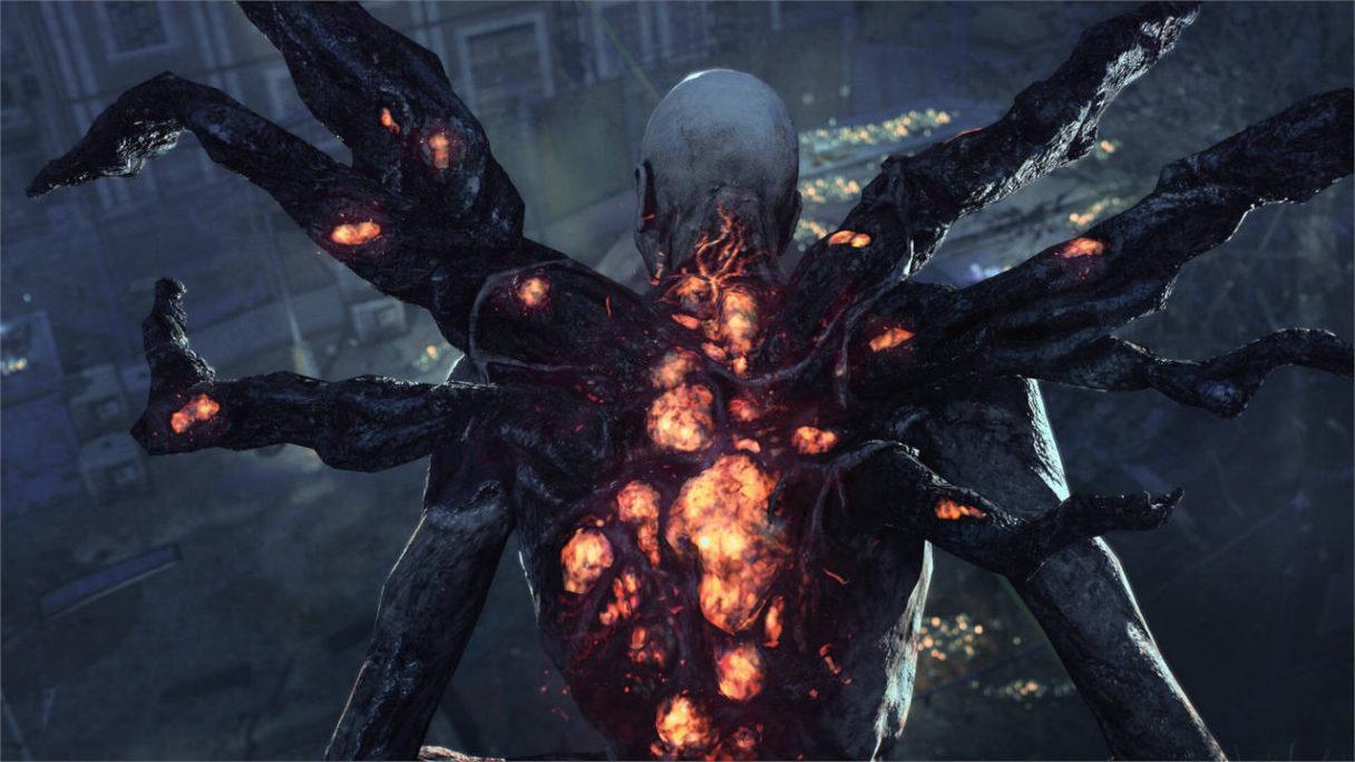 Dying Light 2 Stay Human - widok na zombie mutanta zza jego pleców. Ma wiele odnóży niczym pająk