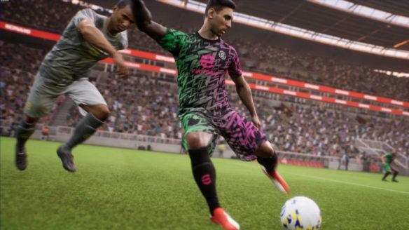 eFootball - walka o piłkę - piłkarze na boisku